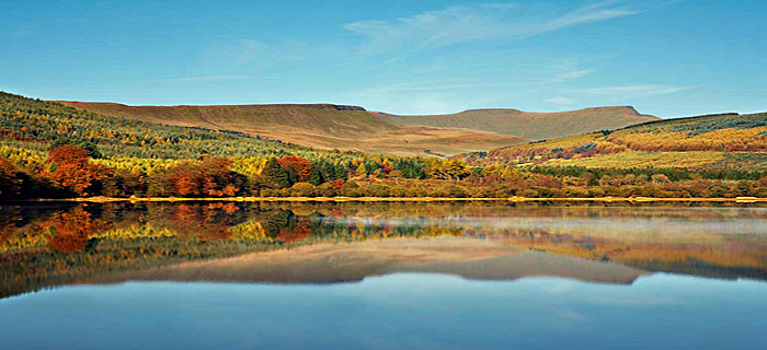 Autumn over reservoir Brecon beacons