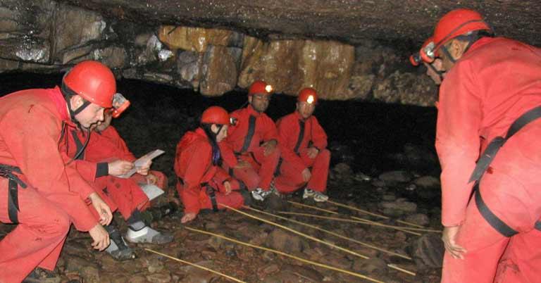 Caving team activity